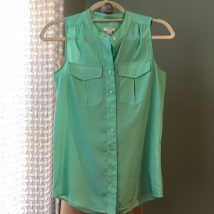 Mint green J. Crew sleeveless blouse